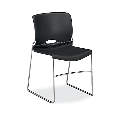 HON Olson High-Density Stacking Chair, Onyx Shell, 4/Pack