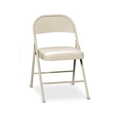 HON HFC02 Steel Folding Chair, Upholstered Seat, Light Beige Finish, Light Beige Vinyl, 4 per Carton