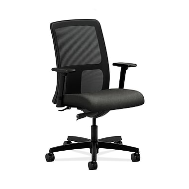 HON® Ignition Low-Back Mesh Task Chair, Synchro-Tilt, Adjustable Arms, Grey Fabric
