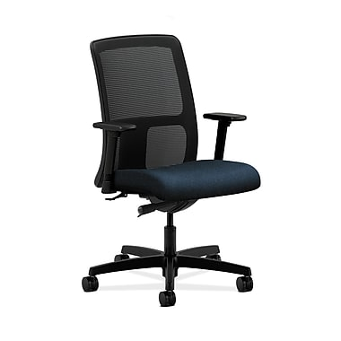 HON® Ignition Low-Back Mesh Task Chair, Synchro-Tilt, Adjustable Arms, Confetti Blue Fabric
