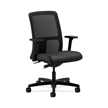 HON® Ignition Low-Back Mesh Task Chair, Synchro-Tilt, Adjustable Arms, Attire Onyx Fabric
