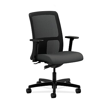 HON® Ignition Low-Back Mesh Task Chair, Synchro-Tilt, Adjustable Arms, Iron Ore Fabric