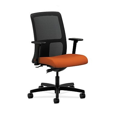 HON® Ignition Low-Back Mesh Task Chair, Synchro-Tilt, Adjustable Arms, Tangerine Fabric