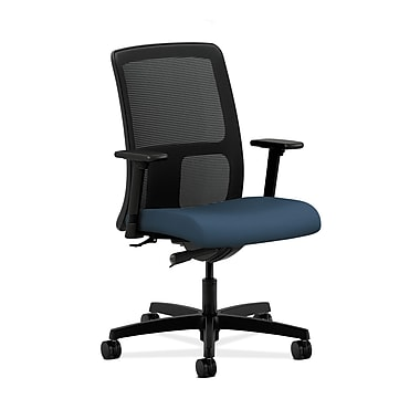 HON® Ignition Low-Back Mesh Task Chair, Synchro-Tilt, Adjustable Arms, Silvertex Vinyl Jet