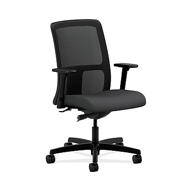 HON® Ignition Low-Back Mesh Task Chair, Synchro-Tilt, Adjustable Arms, Carbon Fabric
