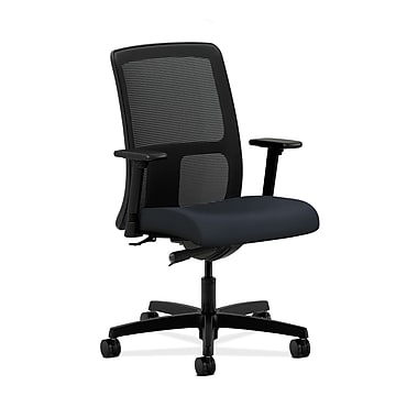 HON® Ignition Low-Back Mesh Task Chair, Synchro-Tilt, Adjustable Arms, Navy Fabric