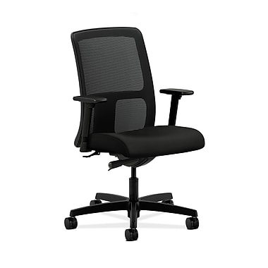 HON® Ignition Low-Back Mesh Task Chair, Synchro-Tilt, Adjustable Arms, Whisper Vinyl Black