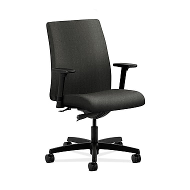 HON® Ignition Low-Back Task Chair, Synchro-Tilt, Adjustable Arms, Grey Fabric