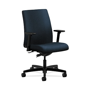 HON® Ignition Low-Back Task Chair, Synchro-Tilt, Adjustable Arms, Confetti Blue Fabric