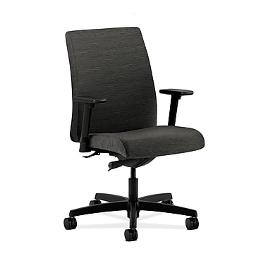 HON® Ignition Low-Back Task Chair, Synchro-Tilt, Adjustable Arms, Attire Onyx Fabric