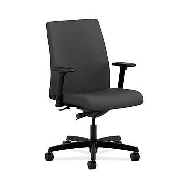HON® Ignition Low-Back Task Chair, Synchro-Tilt, Adjustable Arms, Iron Ore Fabric