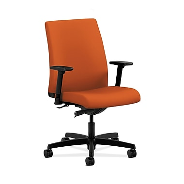 HON® Ignition Low-Back Task Chair, Synchro-Tilt, Adjustable Arms, Tangerine Fabric