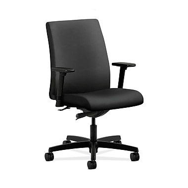 HON® Ignition Low-Back Task Chair, Synchro-Tilt, Adjustable Arms, Inertia Onyx Fabric