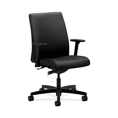 HON® Ignition Low-Back Task Chair, Synchro-Tilt, Adjustable Arms, Contourett Polyurethane Black