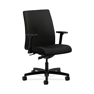 HON® Ignition Low-Back Task Chair, Synchro-Tilt, Adjustable Arms, Whisper Vinyl Black