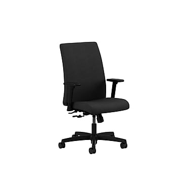 HON Ignition Low-Back Mesh Task Chair, Center-Tilt, Adjustable Arms, Black Fabric