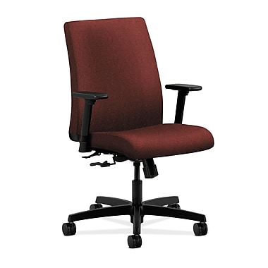 HON® Ignition® Low-Back Mesh Task Chair, Adjustable Arms, Burgundy