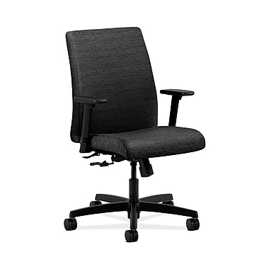 HON® Ignition Low-Back Task Chair, Center-Tilt, Adjustable Arms, Onyx Fabric