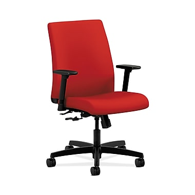 HON® Ignition Low-Back Task Chair, Center-Tilt, Adjustable Arms, Tomato Fabric