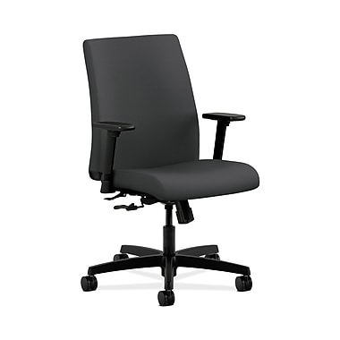 HON® Ignition Low-Back Task Chair, Center-Tilt, Adjustable Arms, Carbon Fabric