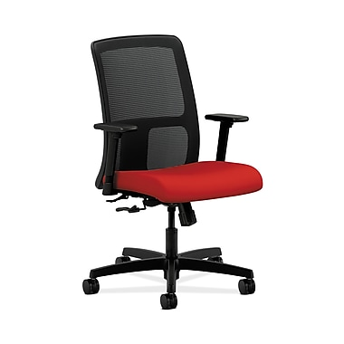 HON® Ignition Low-Back Mesh Task Chair, Center-Tilt, Adjustable Arms, Tomato Fabric