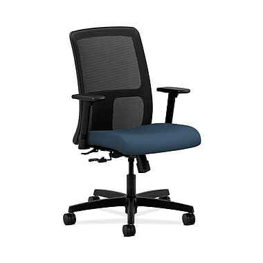 HON® Ignition Low-Back Mesh Task Chair, Center-Tilt, Adjustable Arms, SilverTex Vinyl Jet