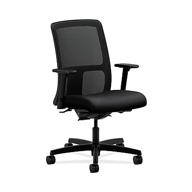 HON® Ignition Low-Back Mesh Task Chair, Synchro-Tilt, Back Angle, Adjustable Arms, Confetti Black Fabric