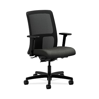 HON® Ignition Low-Back Mesh Task Chair, Synchro-Tilt, Back Angle, Adjustable Arms, Grey Fabric