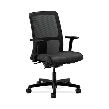 HON® Ignition Low-Back Mesh Task Chair, Synchro-Tilt, Back Angle, Adjustable Arms, Attire Onyx Fabric