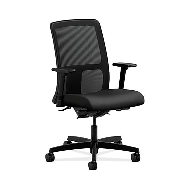 HON® Ignition Low-Back Mesh Task Chair, Synchro-Tilt, Back Angle, Adjustable Arms, Inertia Onyx Fabric