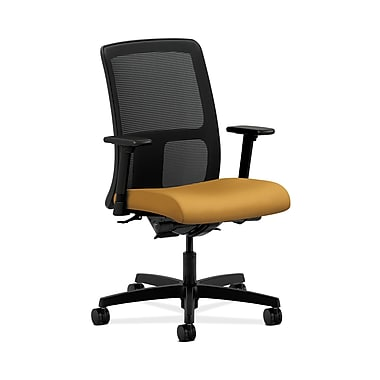 HON® Ignition Low-Back Mesh Task Chair, Synchro-Tilt, Back Angle, Adjustable Arms, Mustard Fabric