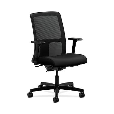 HON® Ignition Low-Back Task Chair, Synchro-Tilt, Back Angle, Adjustable Arms, Contourett Polyurethane Black