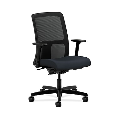 HON® Ignition Low-Back Mesh Task Chair, Synchro-Tilt, Back Angle, Adjustable Arms, Navy Fabric