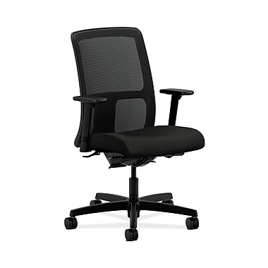 HON® Ignition Low-Back Mesh Task Chair, Synchro-Tilt, Back Angle, Adjustable Arms, Whisper Vinyl Black