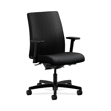 HON® Ignition Low-Back Task Chair, Synchro-Tilt, Back Angle, Adjustable Arms, Confetti Black Fabric
