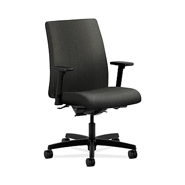 HON® Ignition Low-Back Task Chair, Synchro-Tilt, Back Angle, Adjustable Arms, Grey Fabric
