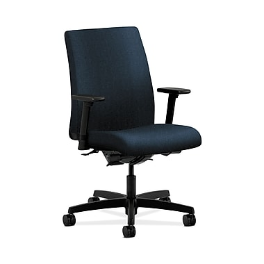 HON® Ignition Low-Back Task Chair, Synchro-Tilt, Back Angle, Adjustable Arms, Confetti Blue Fabric