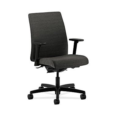 HON® Ignition Low-Back Task Chair, Synchro-Tilt, Back Angle, Adjustable Arms, Attire Onyx Fabric