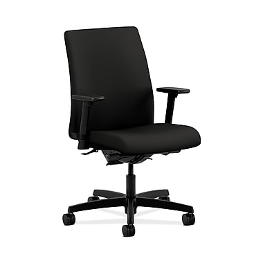HON® Ignition Low-Back Task Chair, Synchro-Tilt, Back Angle, Adjustable Arms, Centurion Black Fabric