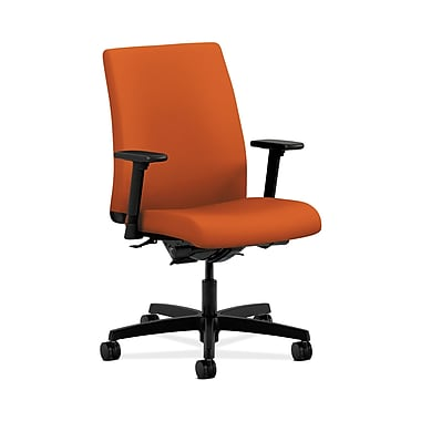 HON® Ignition Low-Back Task Chair, Synchro-Tilt, Back Angle, Adjustable Arms, Tangerine Fabric