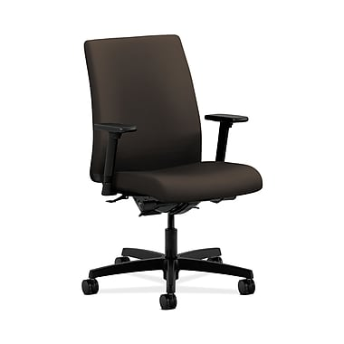 HON® Ignition Low-Back Task Chair, Synchro-Tilt, Back Angle, Adjustable Arms, Espresso Fabric