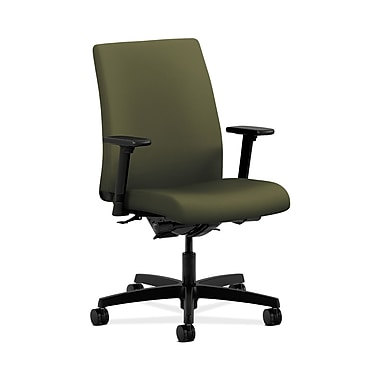 HON® Ignition Low-Back Task Chair, Synchro-Tilt, Back Angle, Adjustable Arms, Olivine Fabric