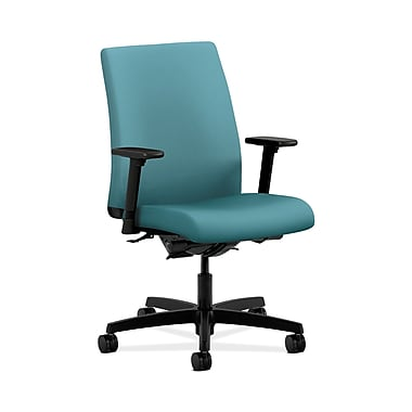 HON® Ignition Low-Back Task Chair, Synchro-Tilt, Back Angle, Adjustable Arms, Glacier Fabric