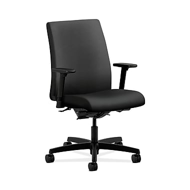 HON® Ignition Low-Back Task Chair, Synchro-Tilt, Back Angle, Adjustable Arms, Inertia Onyx Fabric