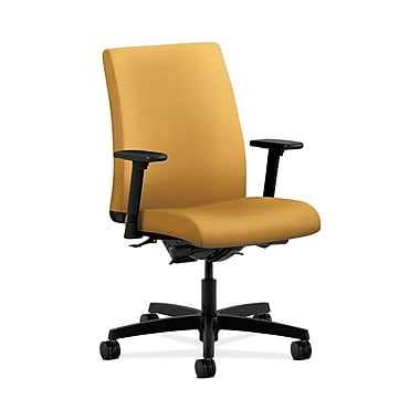 HON® Ignition Low-Back Task Chair, Synchro-Tilt, Back Angle, Adjustable Arms, Mustard Fabric