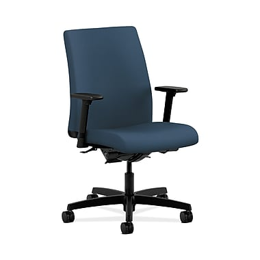 HON® Ignition Low-Back Task Chair, Synchro-Tilt, Back Angle, Adjustable Arms, Silvertex Vinyl Jet