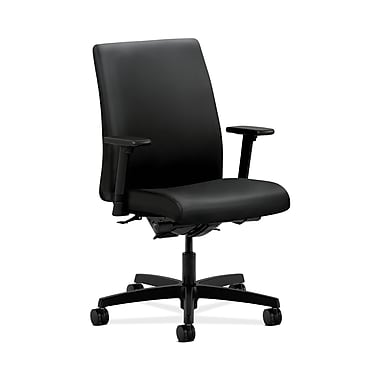 HON® Ignition Low-Back Task Chair, Synchro-Tilt, Back Angle, Adjustable Arms, Black Polyurethane