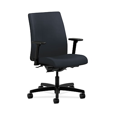 HON® Ignition Low-Back Task Chair, Synchro-Tilt, Back Angle, Adjustable Arms, Navy Fabric