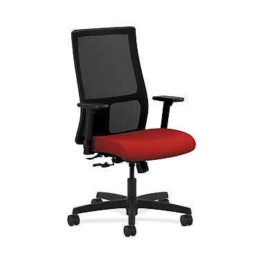 HON® Ignition Mid-Back Mesh Task Chair, Center-Tilt, Adjustable Arms, Tomato Fabric