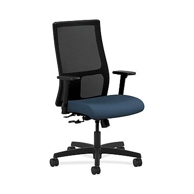 HON® Ignition Mid-Back Mesh Task Chair, Center-Tilt, Adjustable Arms, Silvertex Vinyl Jet